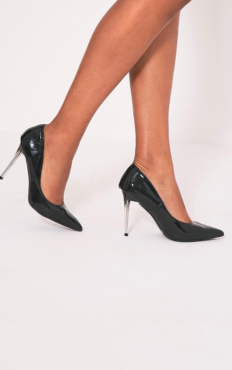 Tasie Black Patent Contrast Perspex Heel Court Shoes 2