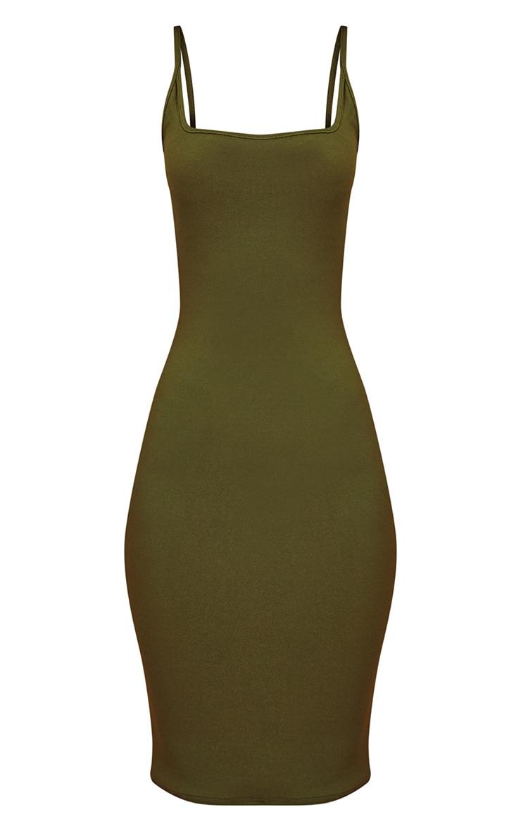 Khaki Square Neck Strappy Midi Dress 3