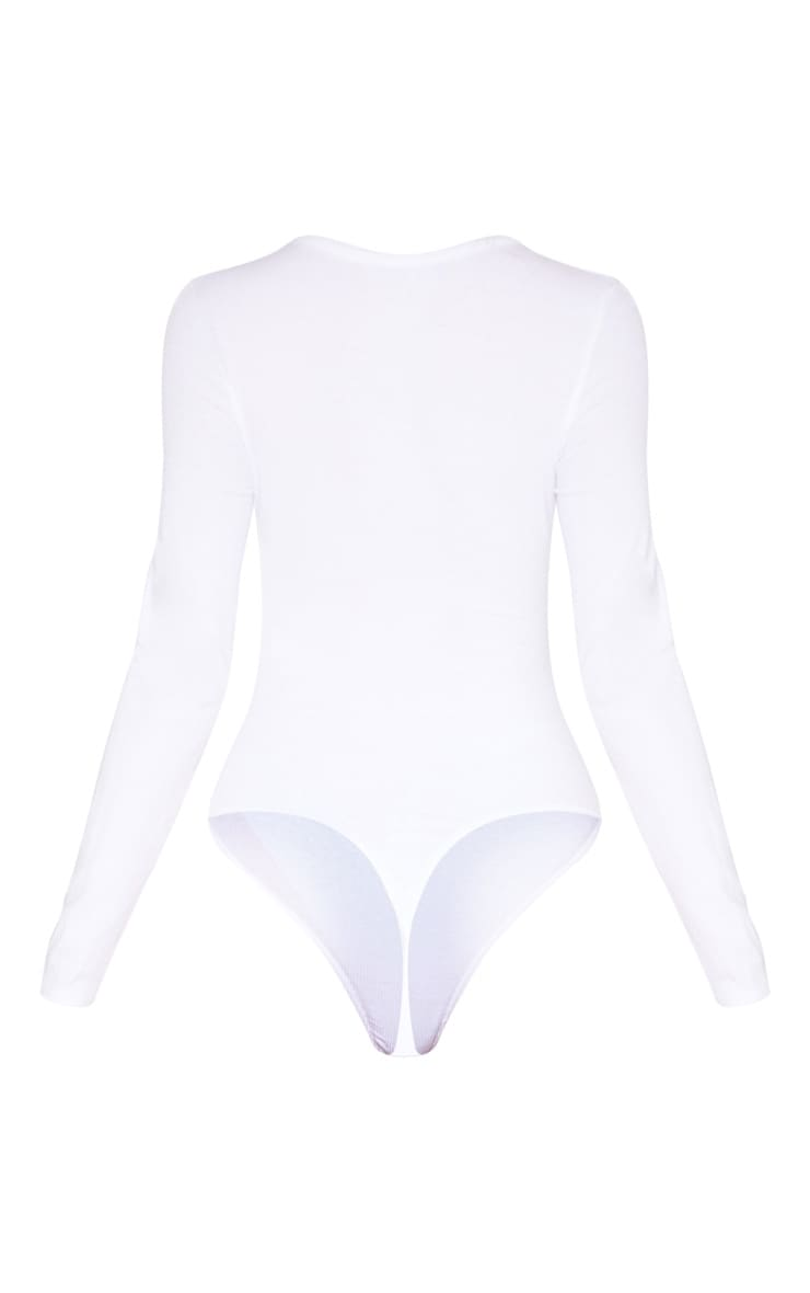 Tall White Long Sleeve Popper Detail Thong Bodysuit 4