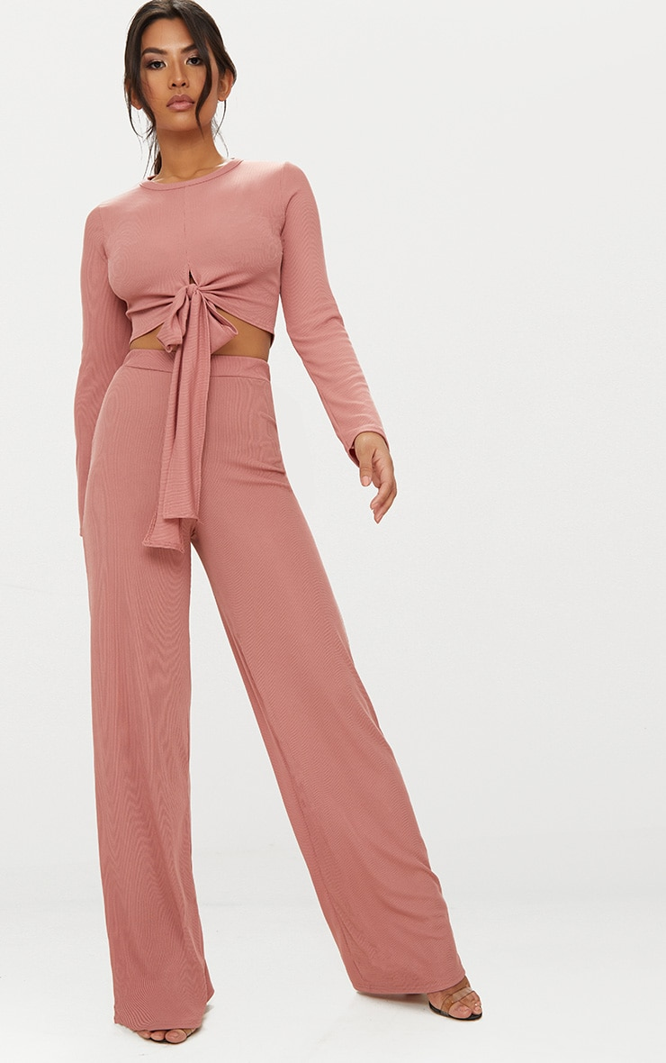 Blush Wide Leg Rib Trousers 1