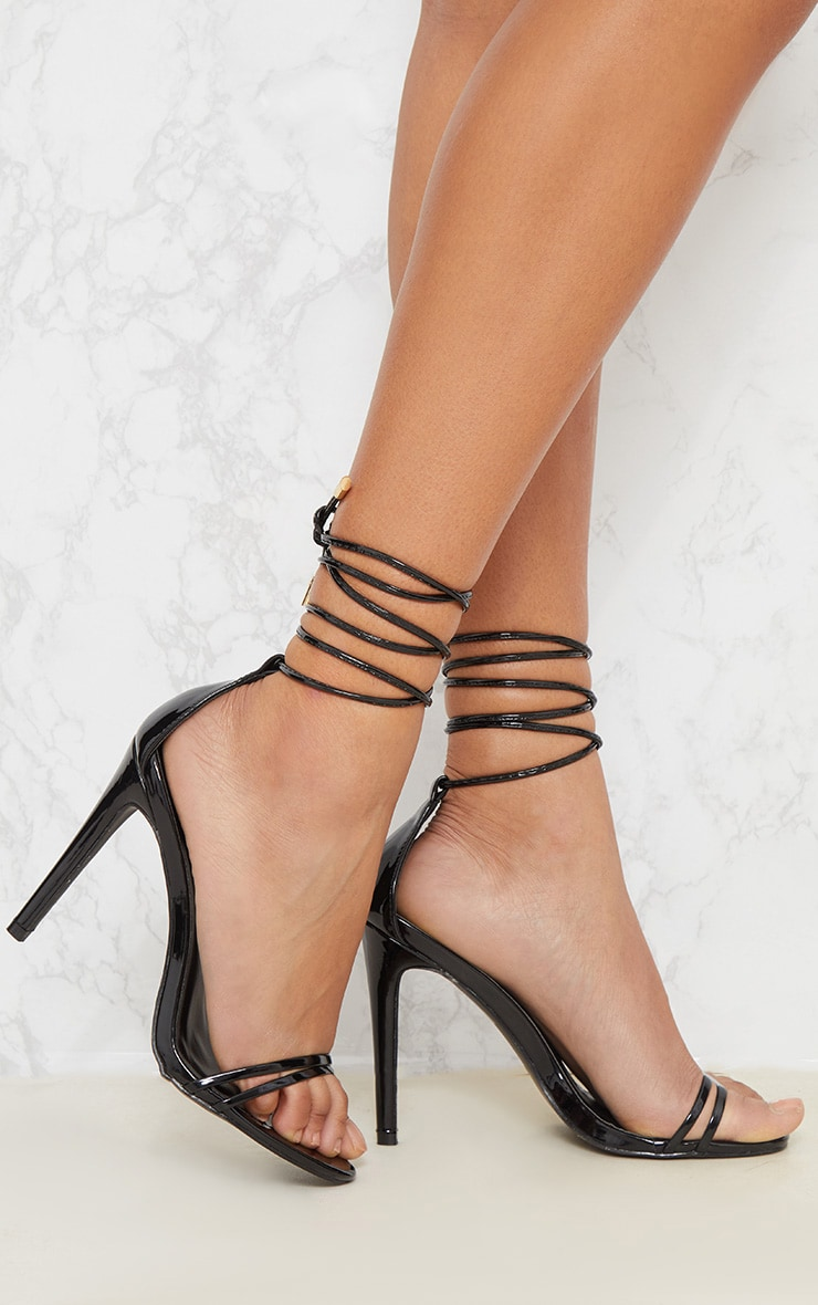 Black Strappy Barely There Ankle Tie Sandal 1