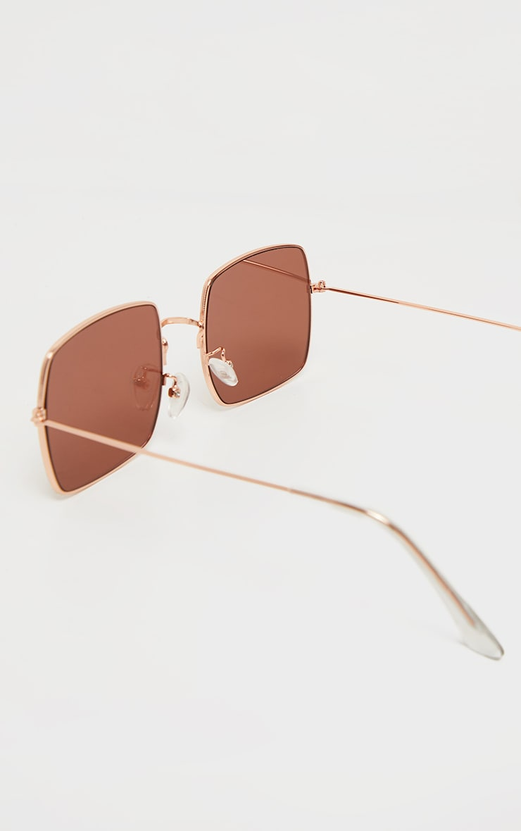 Rose Gold Tinted Lens Square Frame Sunglasses 3