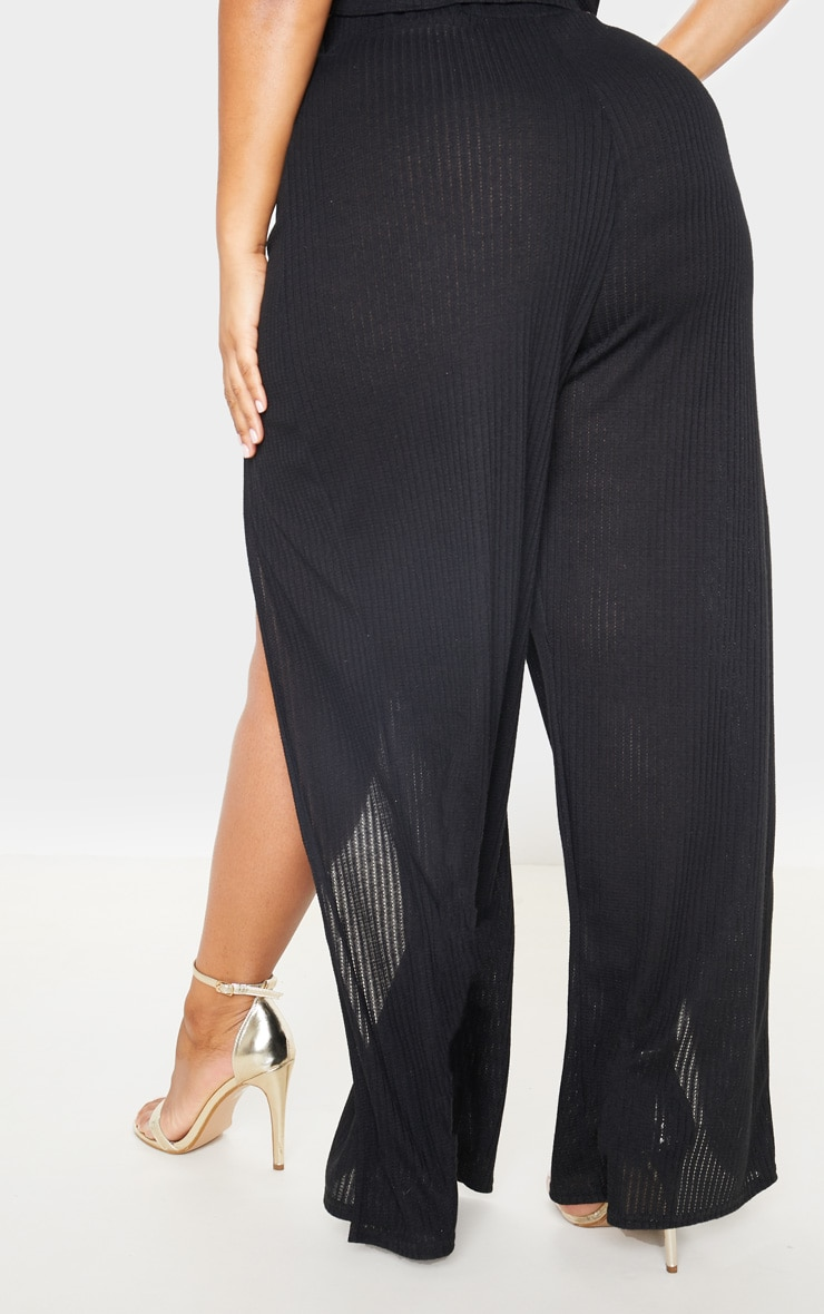 Plus Black Textured Split Detail Wide Leg Pants 4