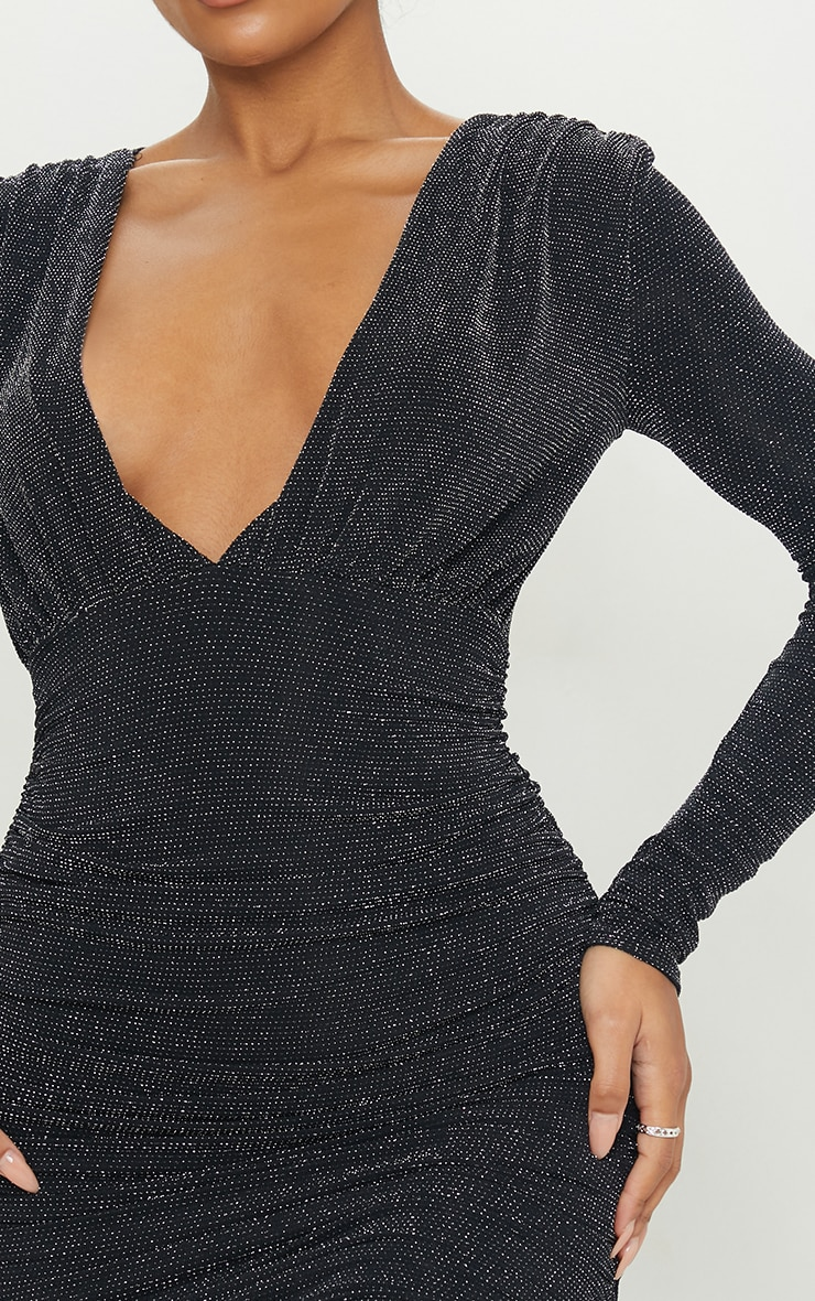 Black Textured Glitter Plunge Ruched Long Sleeve Bodycon Dress 4