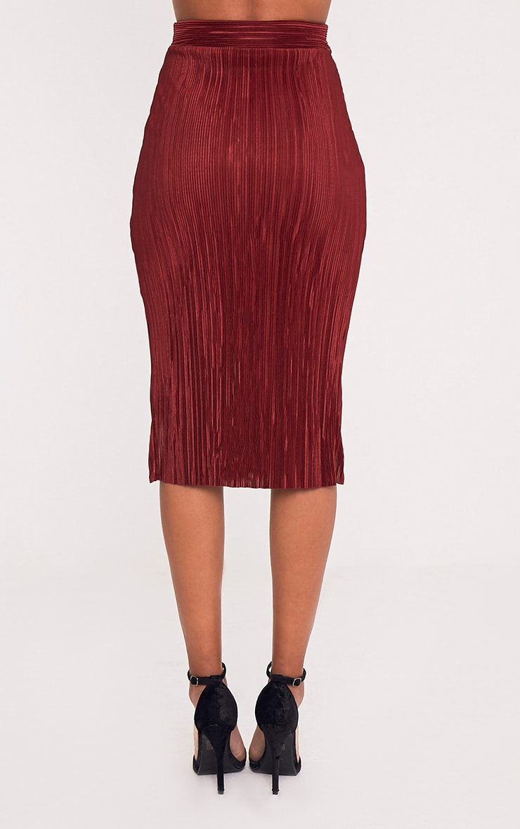 Leola Burgundy Pleated Wrap Midi Skirt 5