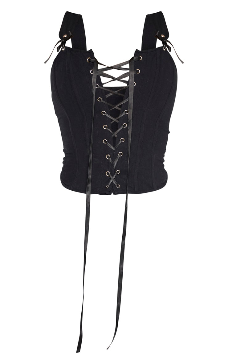 Black Woven Structured Lace Up Corset Crop Top 3