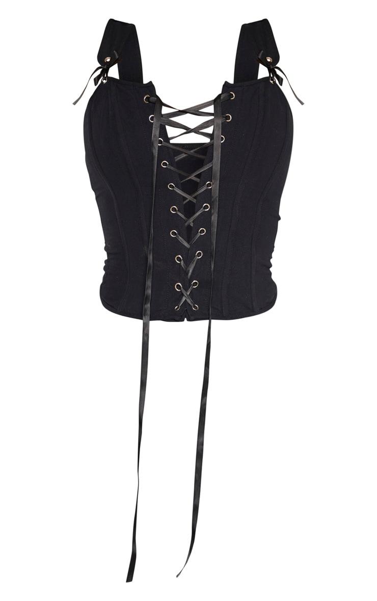 Crop top style corset structuré noir à lacets  3