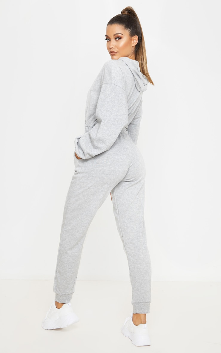 Grey Long Sleeve Hooded Sweat Jumpsuit 2