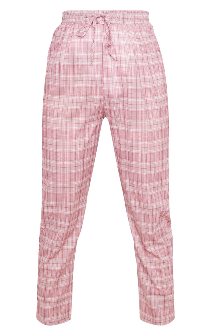 Pink Checked Casual Pants 3