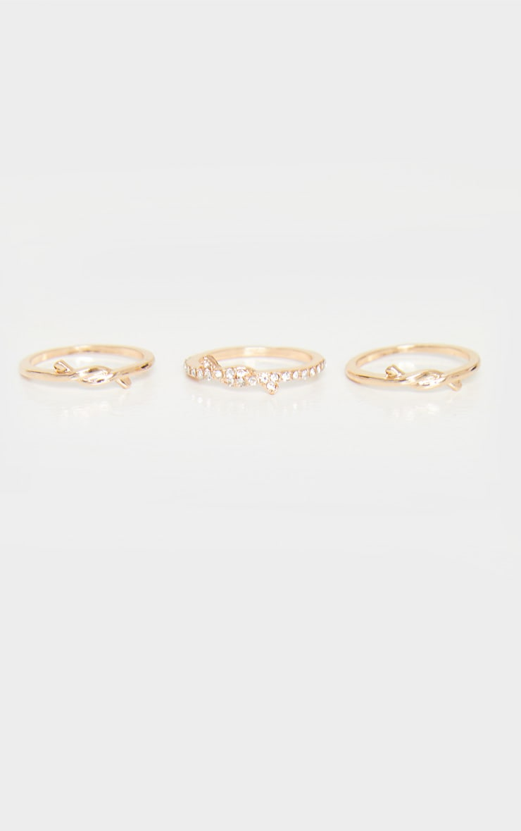 Gold Knot Detail Delicate Three Pack Stacking Rings 2