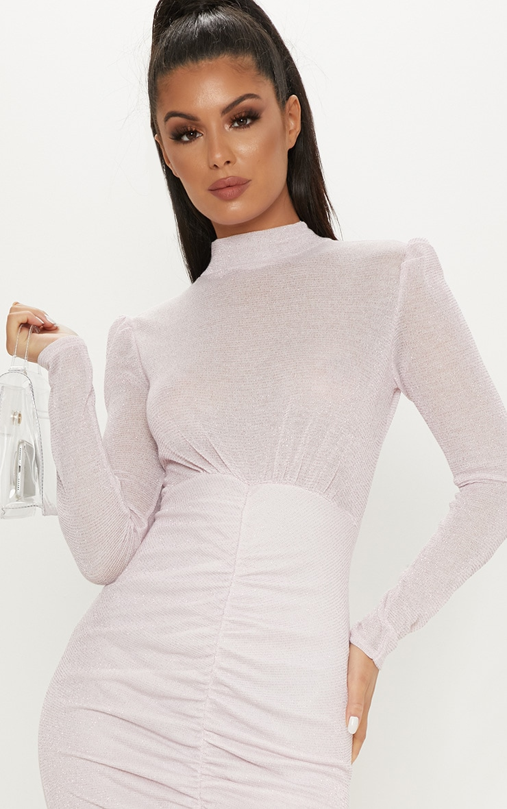 Pink Sheer Glitter Open Back Ruched Bodycon Dress 5