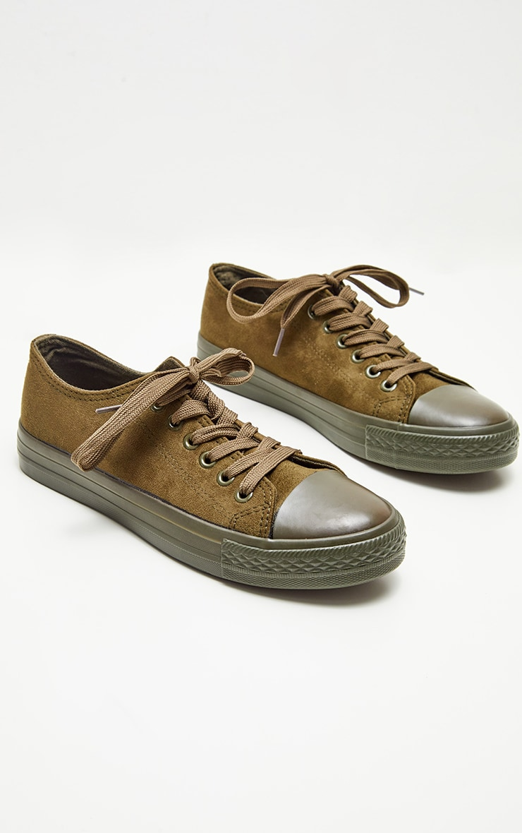 Khaki Faux Suede Lace Up Sneakers 3