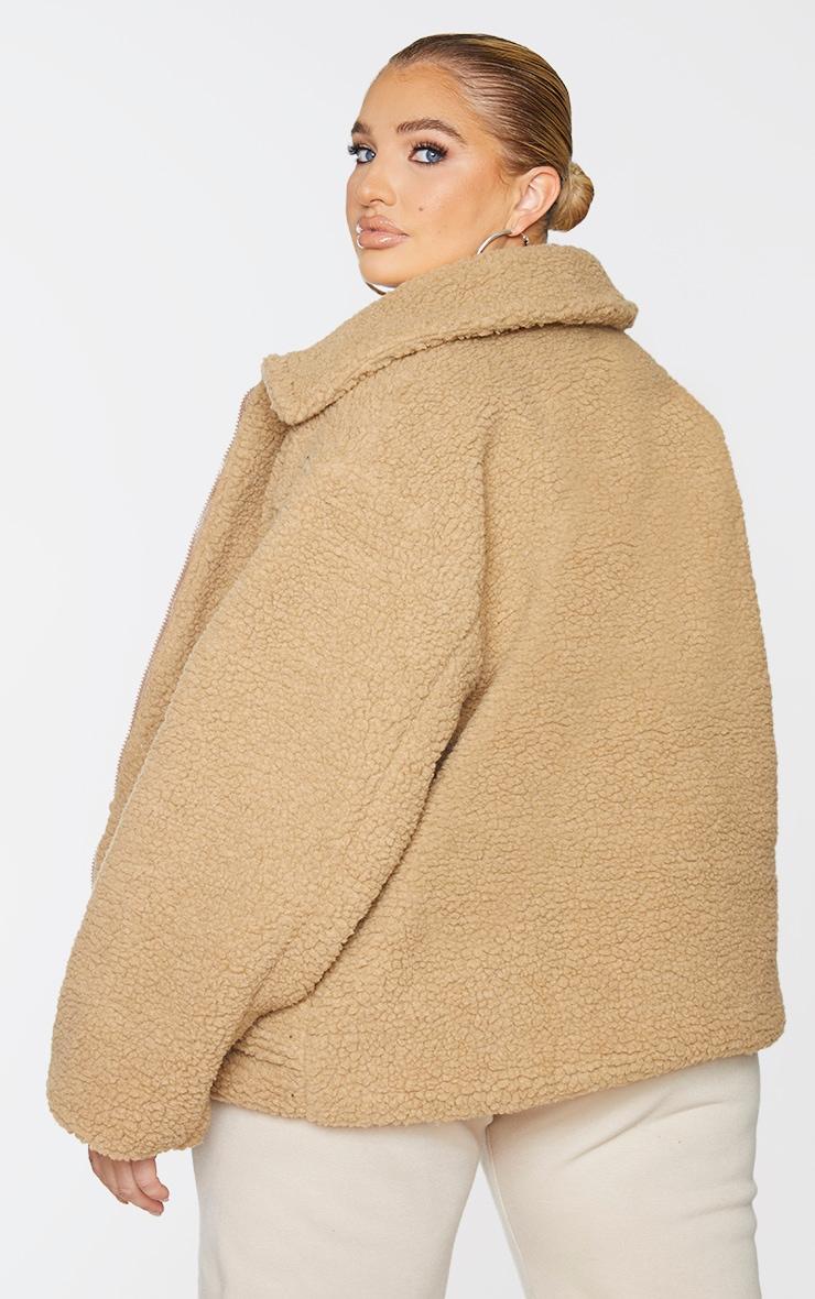 Plus Camel Borg Zip Up Oversized Jacket 2