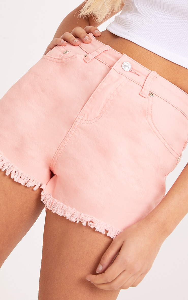 Jaydanne Pink Fray Edge Denim Short 6