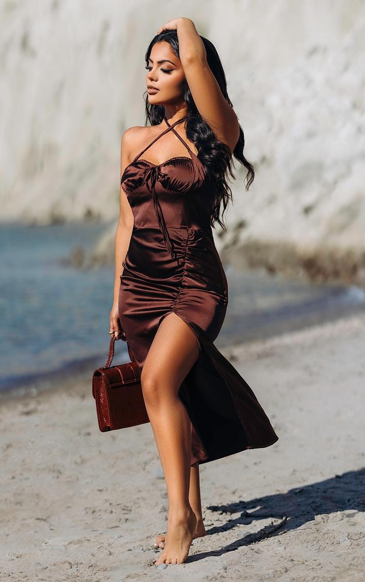 Chocolate Halterneck Ruched Tie Bust Satin Midi Dress