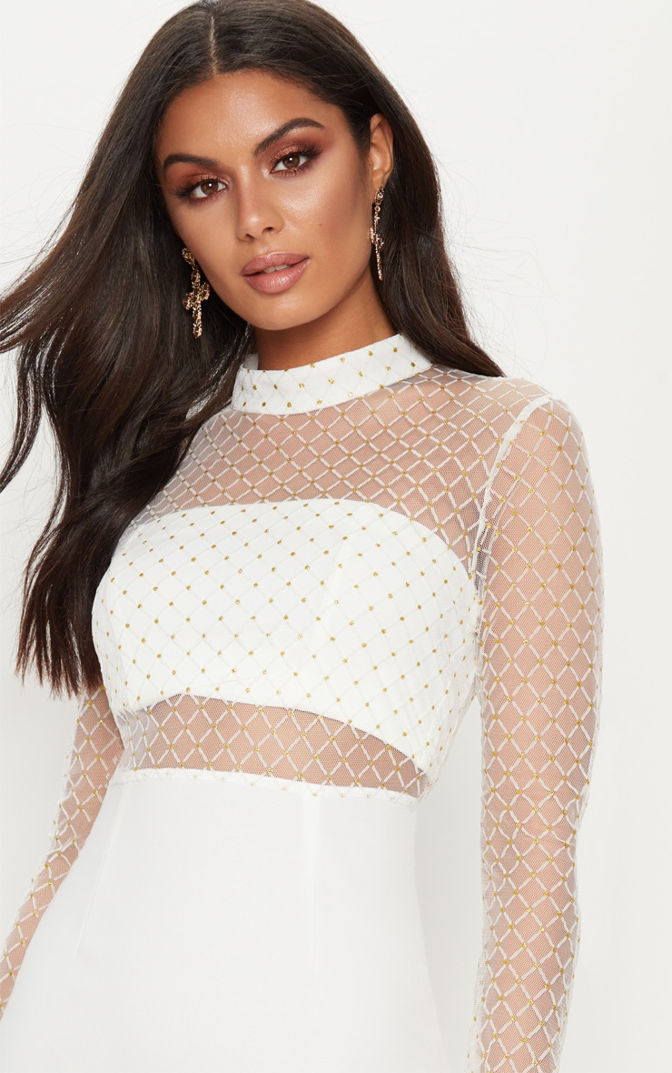White Criss Cross Mesh Top Bodycon Dress 5