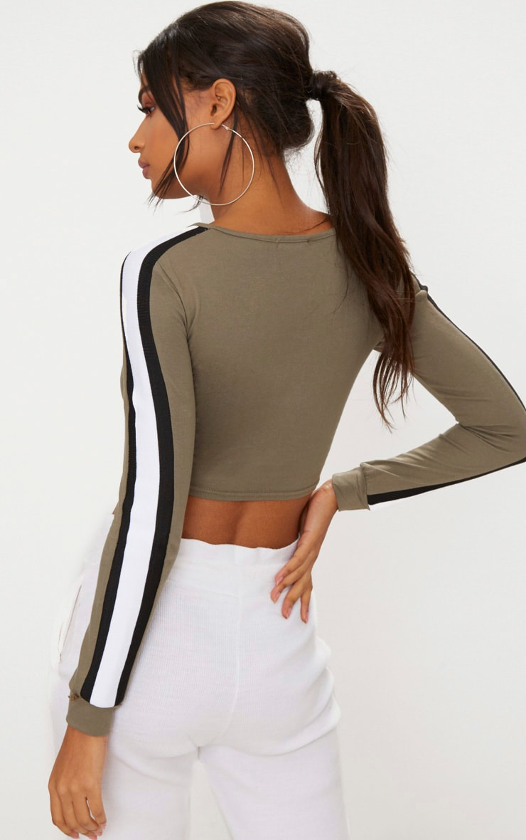Khaki Striped Longsleeve Crop Top 2