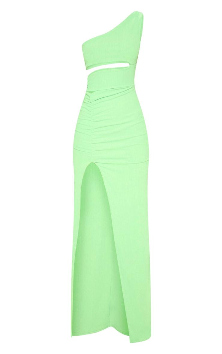 Neon Lime Slinky Rib Cut Out Split Maxi Dress 3