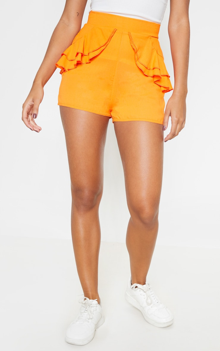 Bright Orange Lightweight Frill Detail Short  2