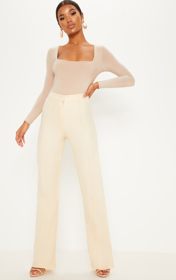 bb27e276205 Anala Champagne High Waisted Straight Leg Trousers image 1