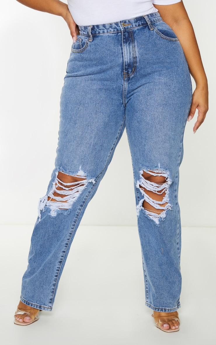 Plus Mid Blue Wash Ripped Knee Long Leg Straight Jeans 2