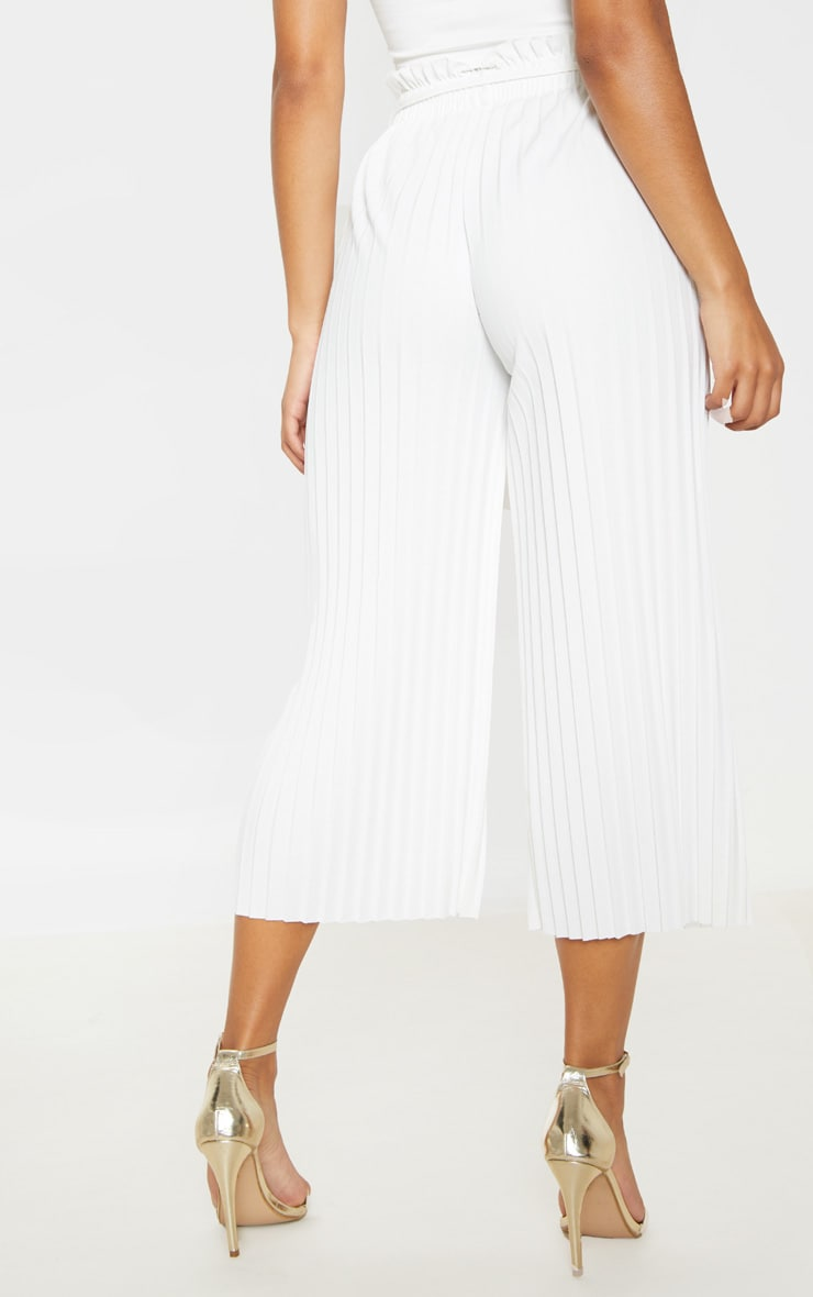 White Pleated Tie Waist Culottes 4