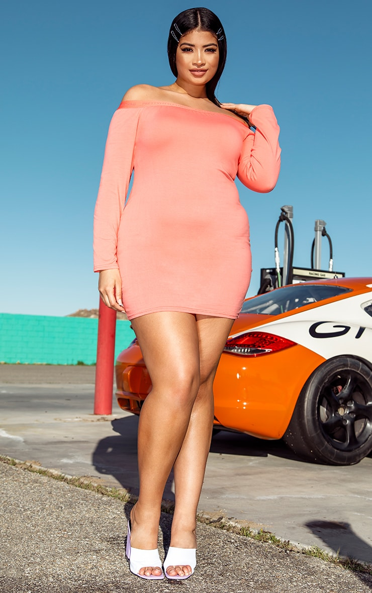PRETTYLITTLETHING Plus Coral Bardot Long Sleeve Bodycon Dress