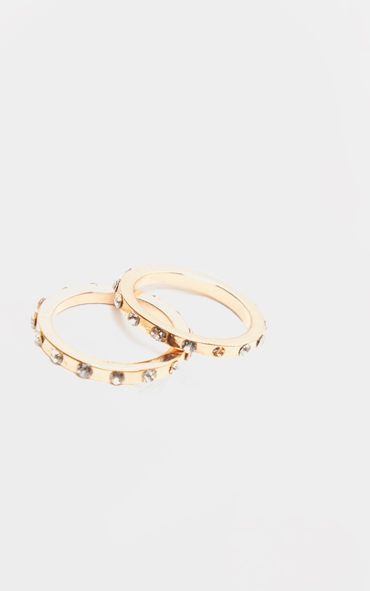 Gold Thin Band Diamante Set Rings Two Pack                  2