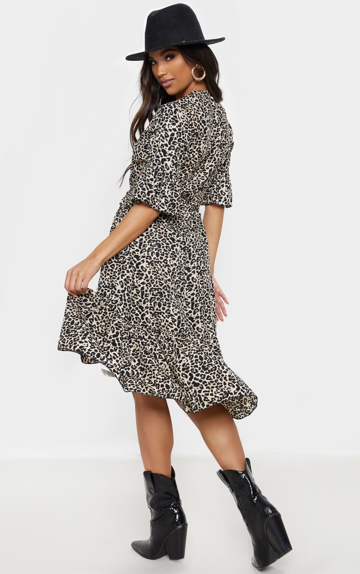 Beige Leopard Print Frill Hem Midi Tea Dress 2