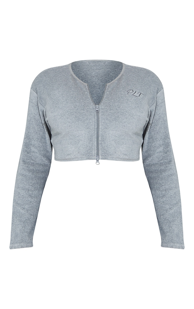 PRETTYLITTLETHING Shape Grey Embroidered Zip Crop Top 5