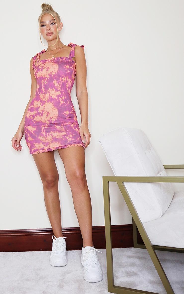 Purple Tie Dye Frill Tie Shoulder Bodycon Dress 3
