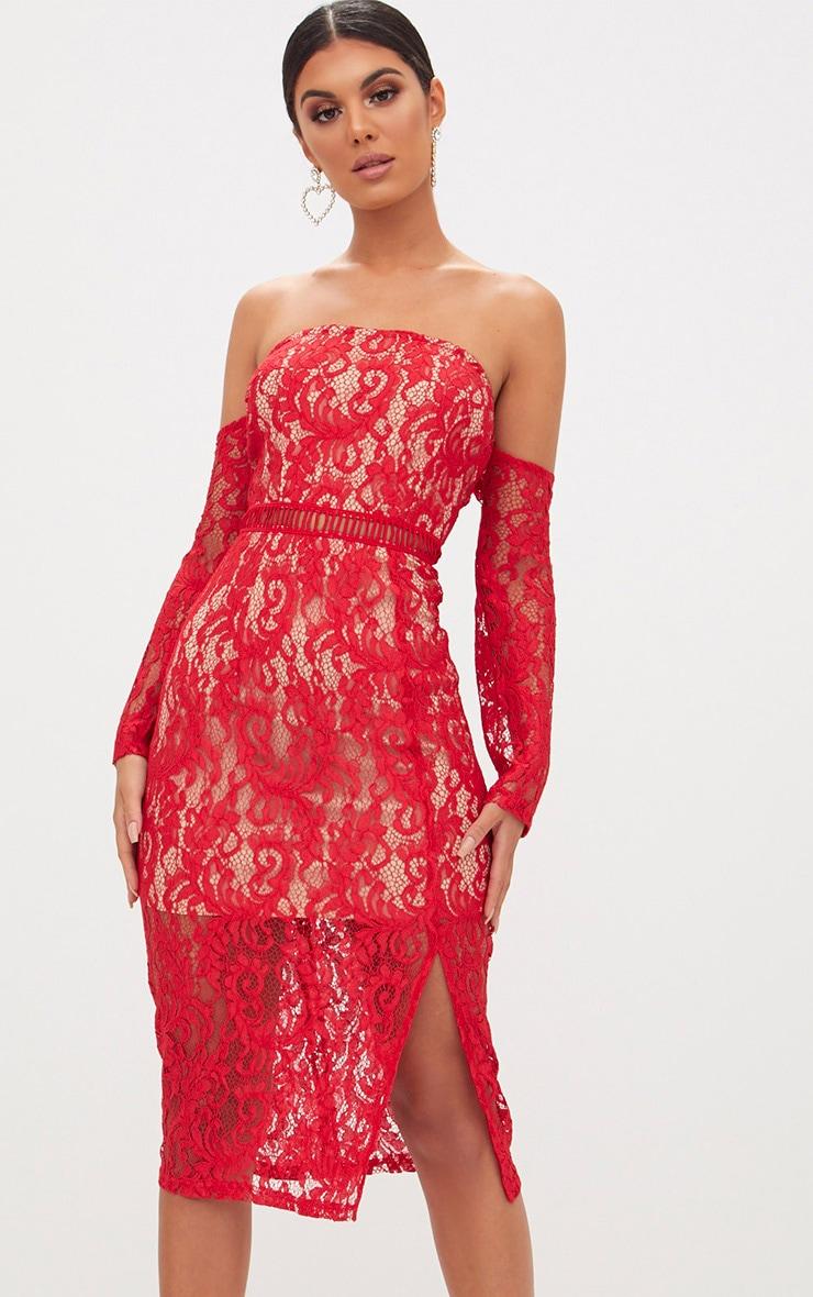 Red Lace Bardot Split Detail Midi Dress  1