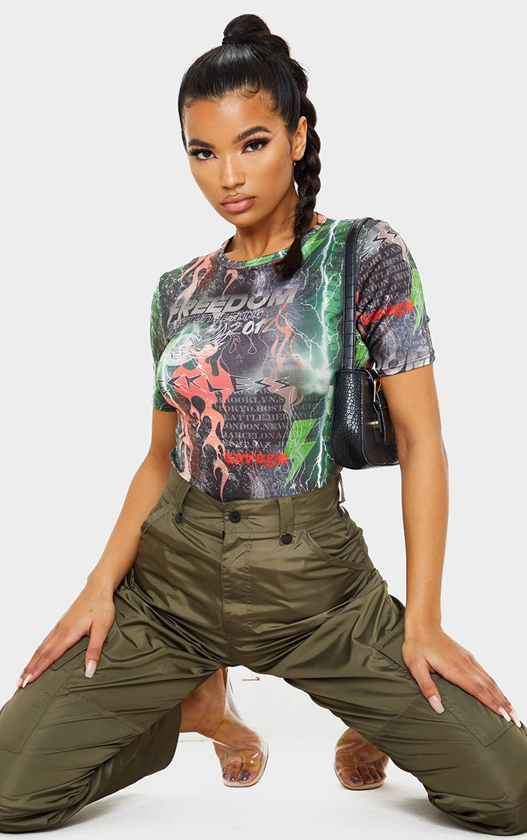 PRETTYLITTLETHING Multi Printed Slinky Fitted T Shirt 1
