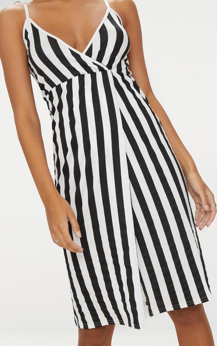 Black Stripe Plunge Wrap Detail Midi Dress 5
