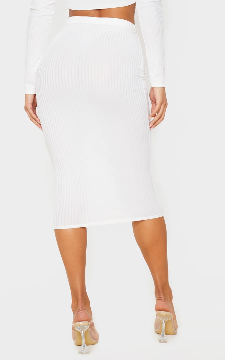 Cream Ribbed High Waist Midi Skirt 4