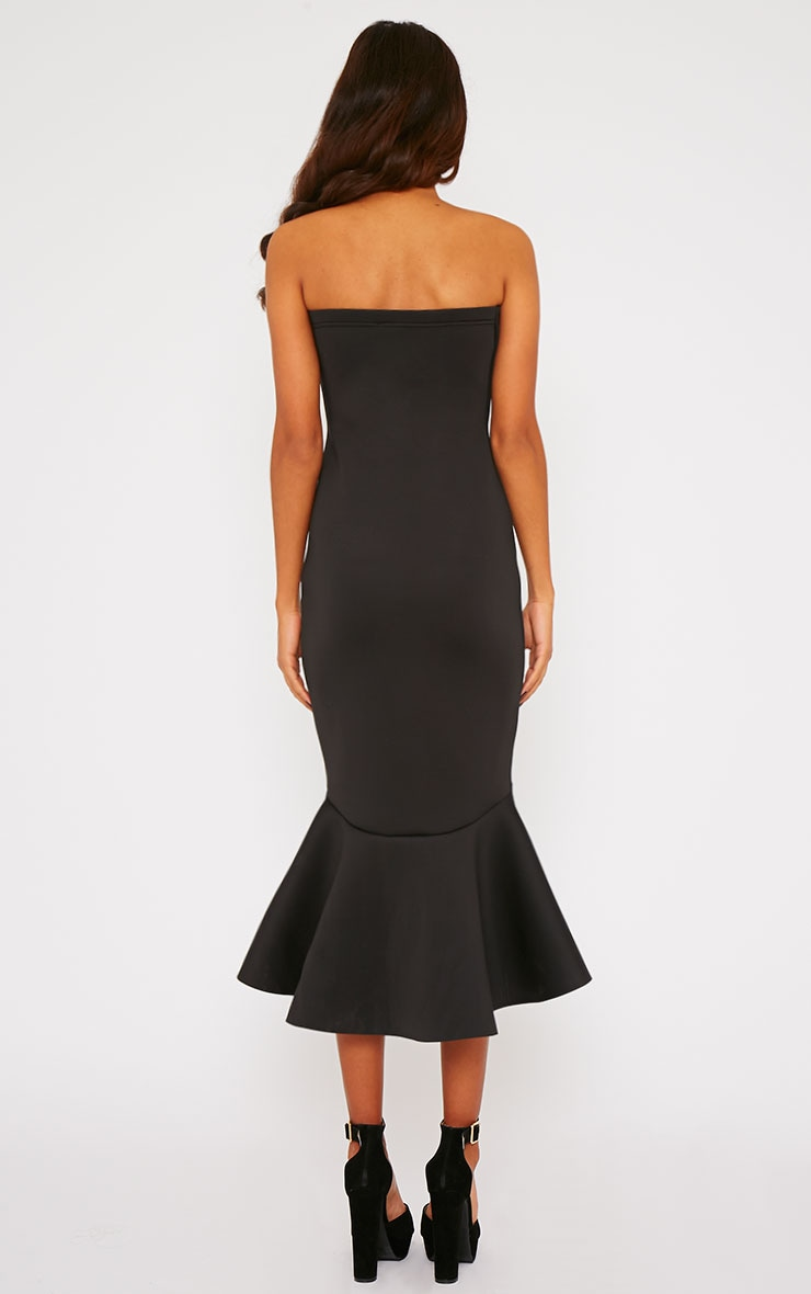 Aisha Black Bandeau Fish Tail Dress 2