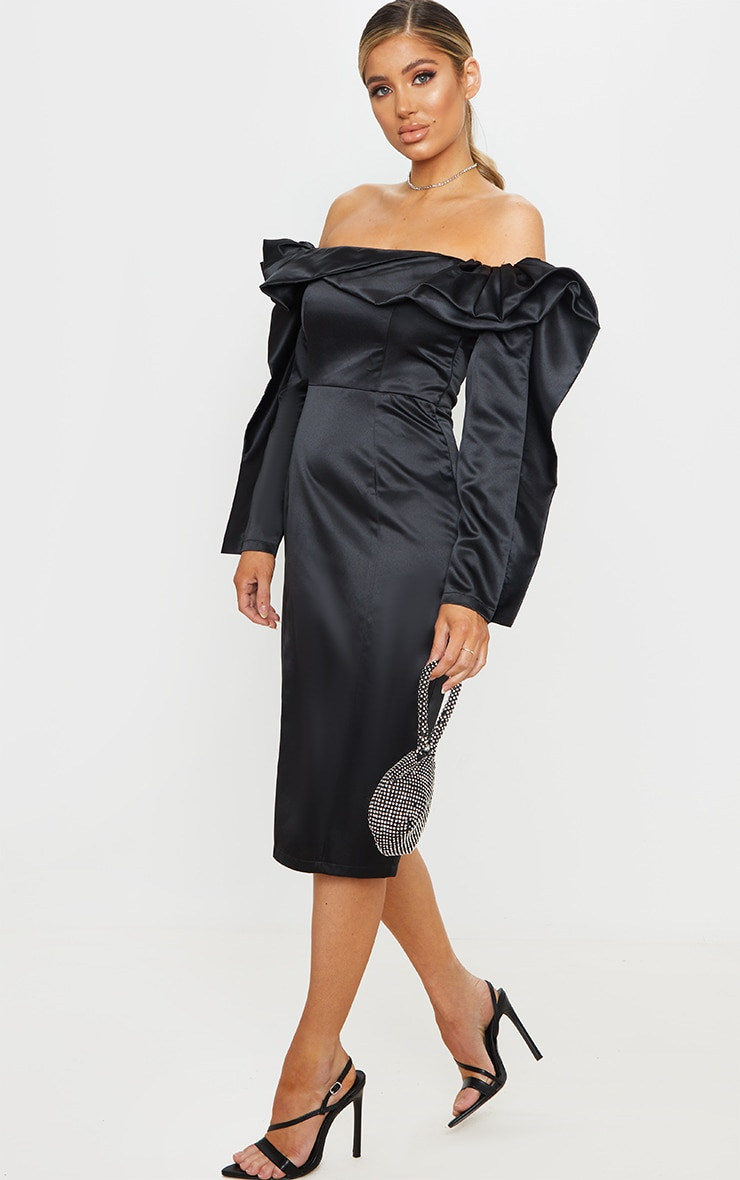 Black Bonded Satin Bardot Ruffle Midi Dress 1