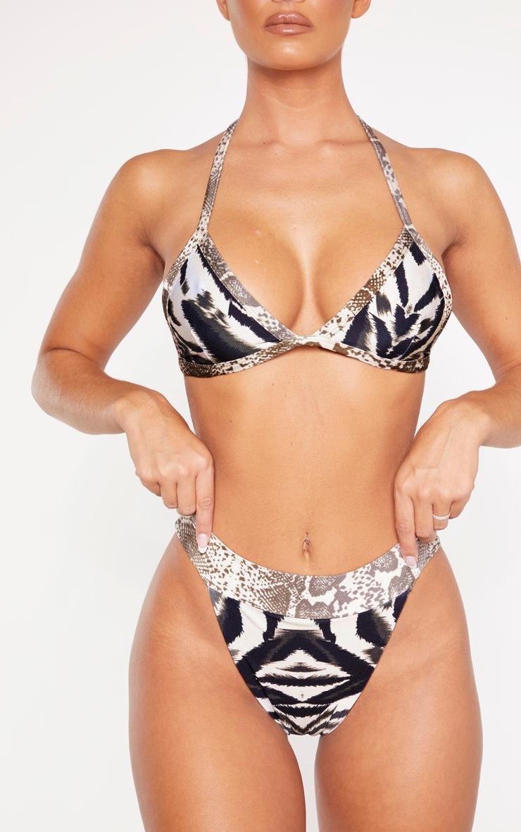Multi Animal Contrast Print Tanga Bikini Bottom 5