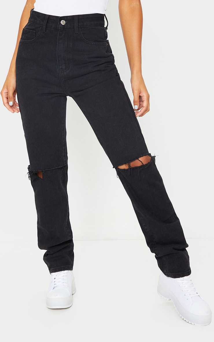 Washed Black Slash Knee Long Leg Straight Leg Jeans 2