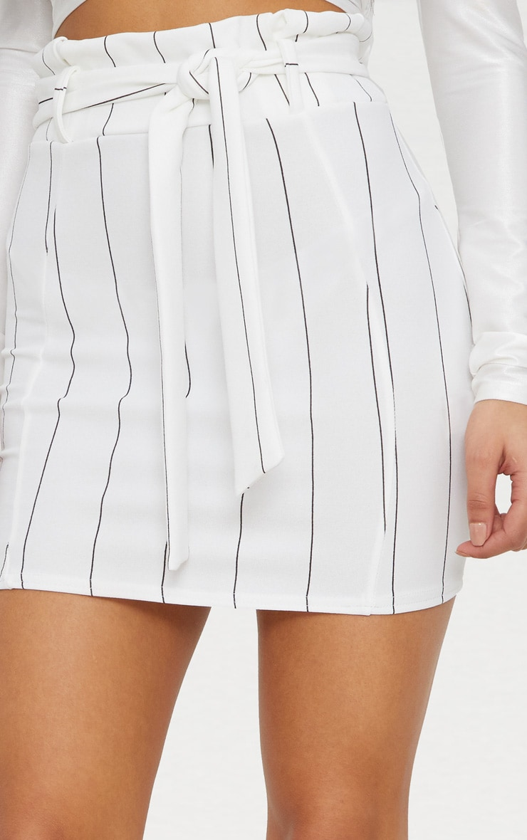 White Pinstripe Tie Waist Mini Skirt 5