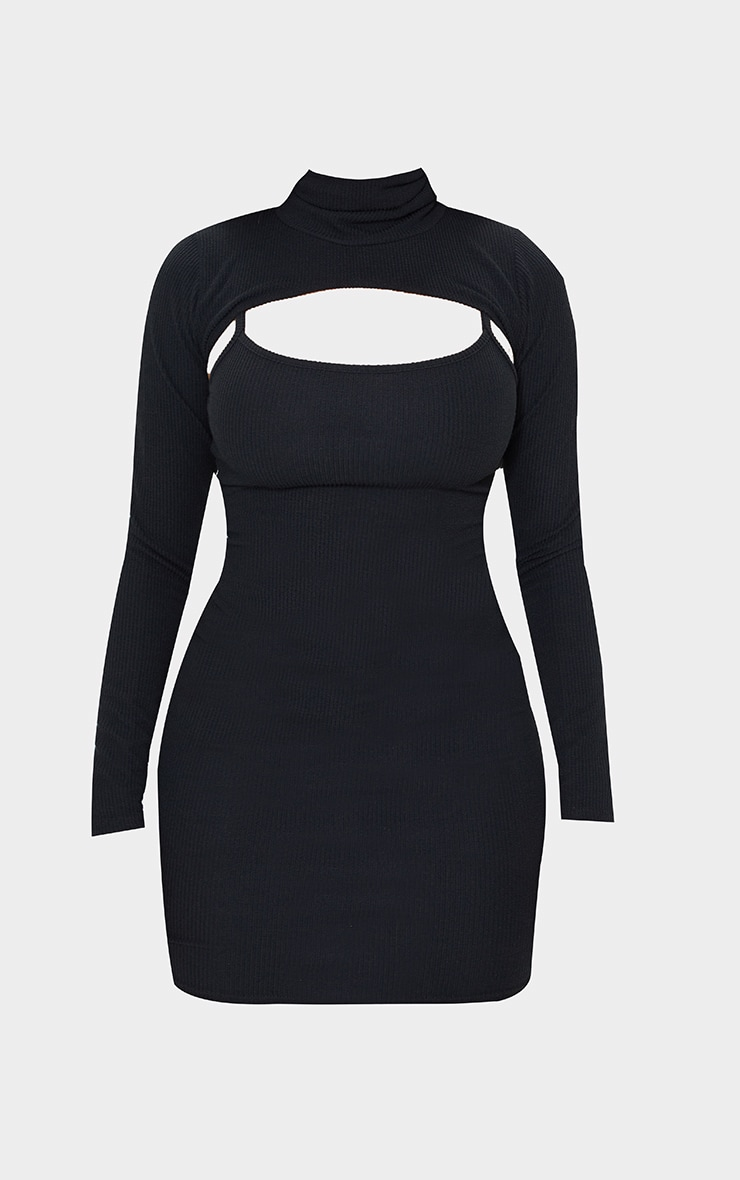 Shape Black Textured Rib Cut Out High Neck Bodycon Dress 5