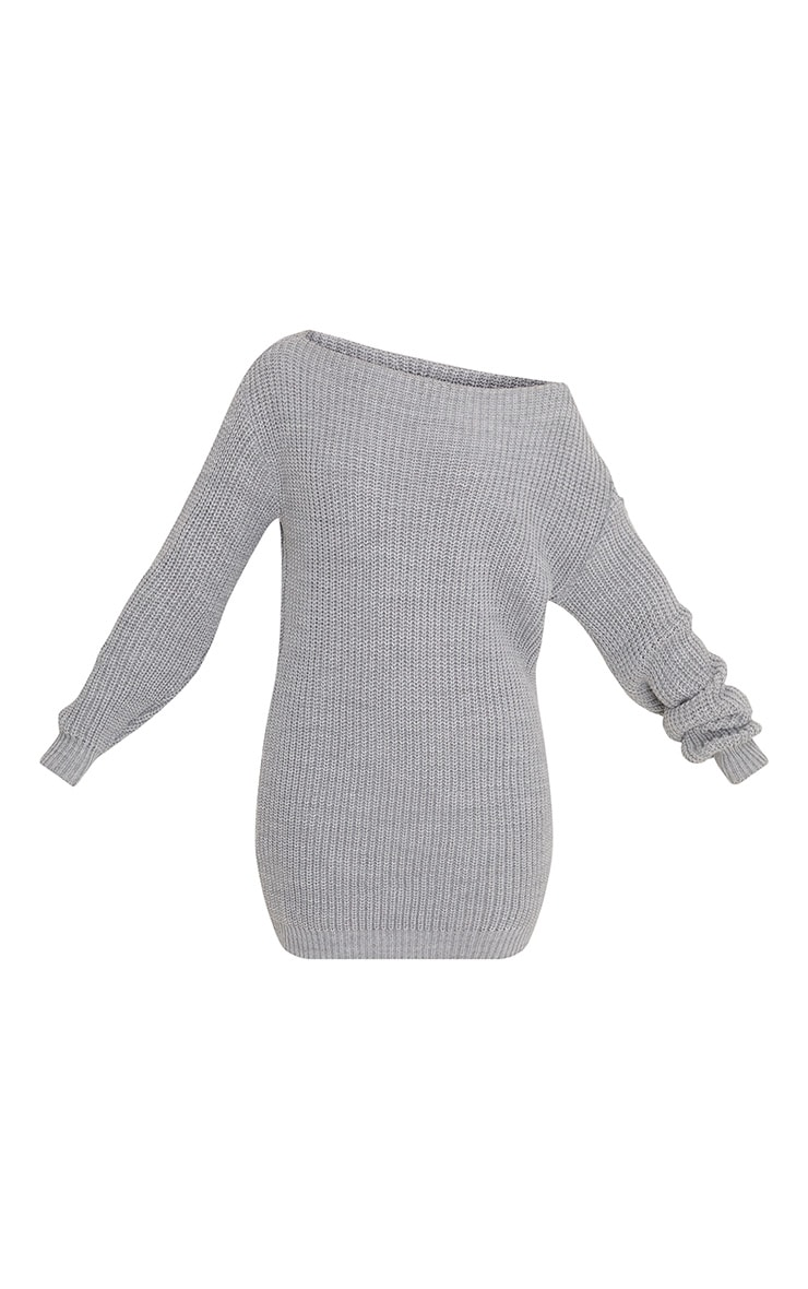 Larissa Grey Off The Shoulder Knitted Dress 3