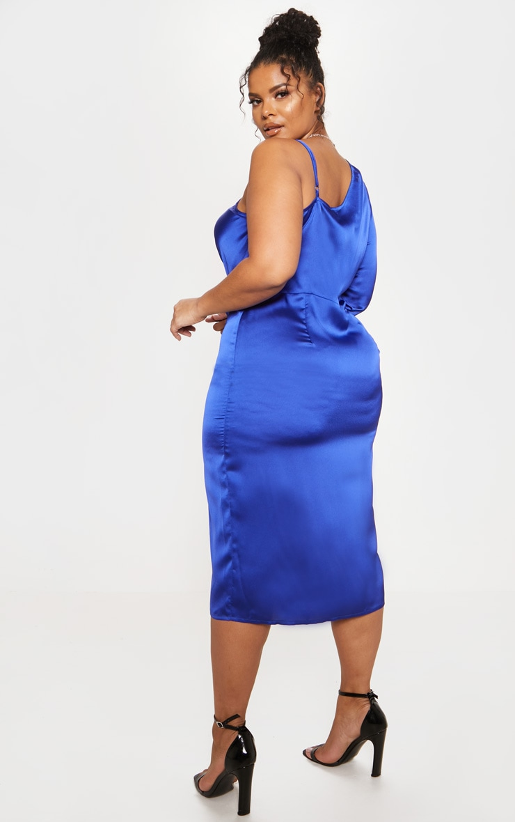 Cobalt Satin Cowl Neck Extreme Split Midi Dress 3