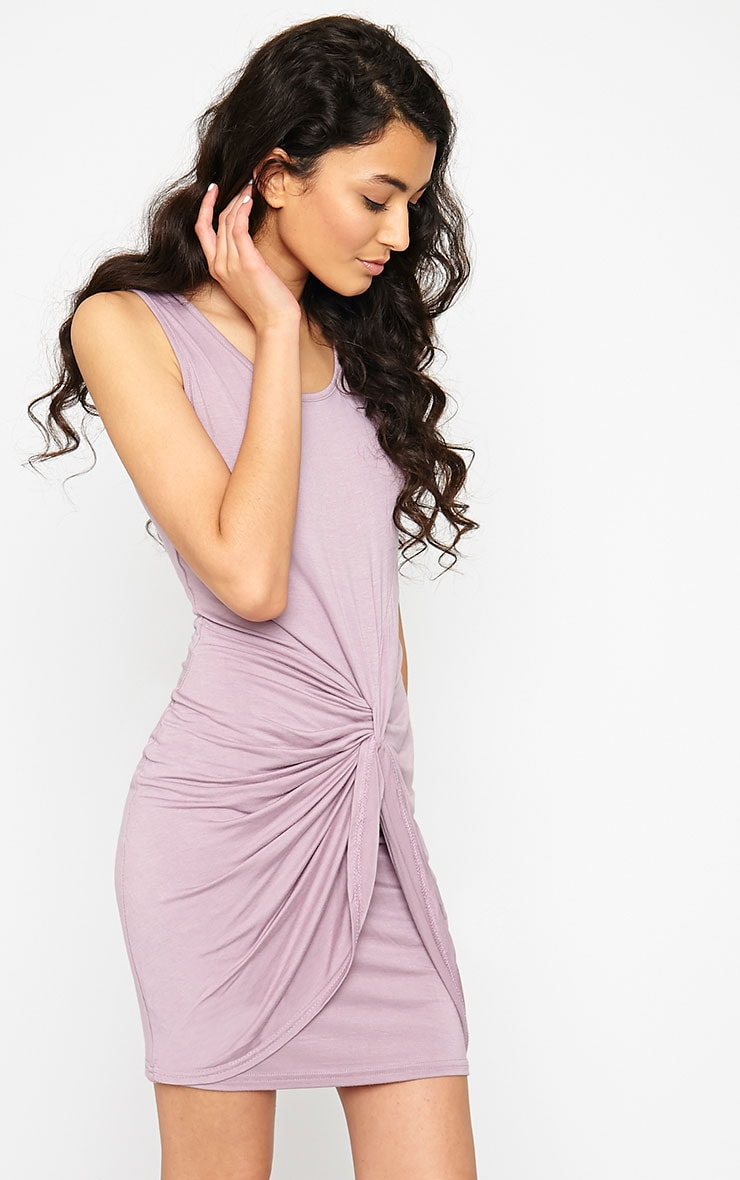 Izabella Mauve Twist Front Dress 4