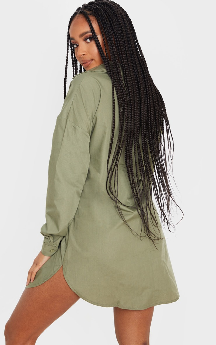 Khaki Tie Front Long Sleeve Shirt Dress 2