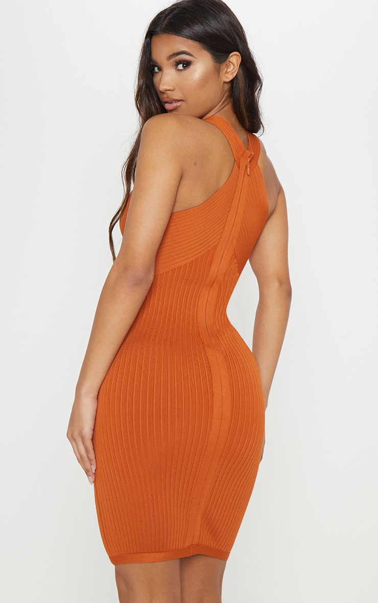 Rust Plunge Bandage Midi Dress 2