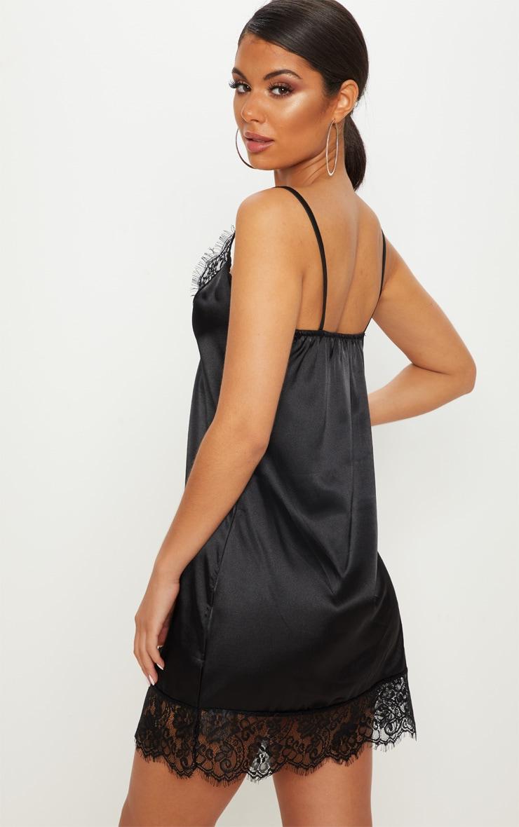 Black Satin Lace Insert Slip Dress  2