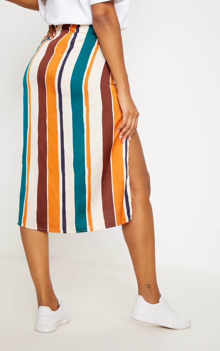 Orange Satin Stripe Midi Skirt 4