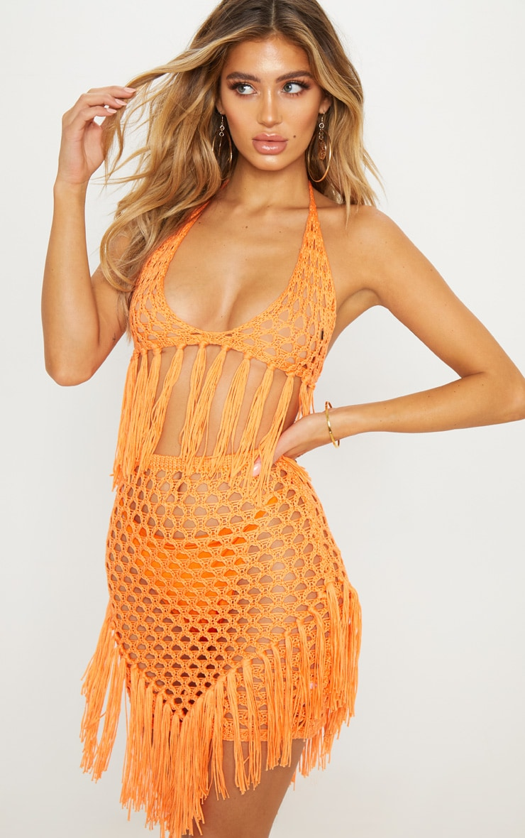 Orange Crochet Knit Bralet image 1
