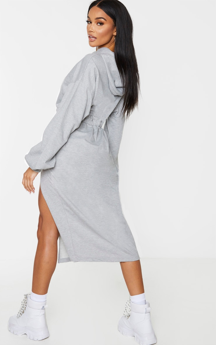 Grey Sweat Hoodie Split Midi Dress 3
